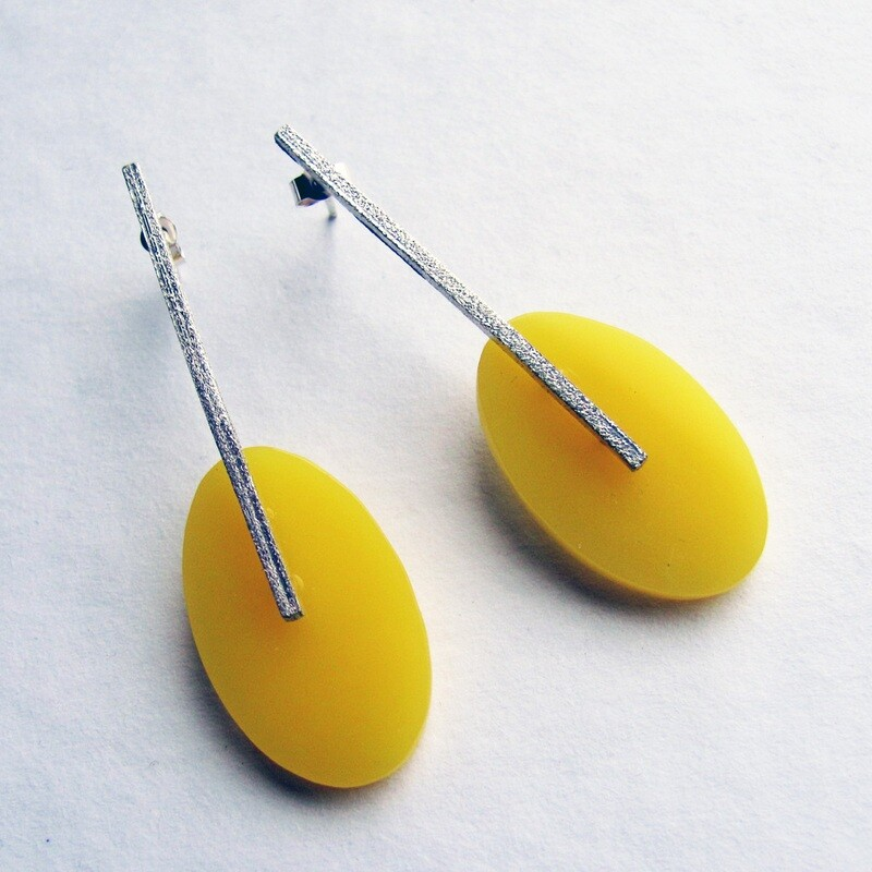 Eco Silver and Yellow Oval Drop Earrings