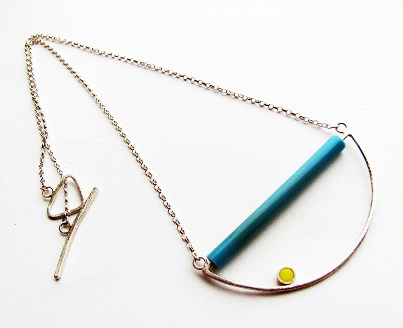 Half Circle Blue and Yellow Necklace