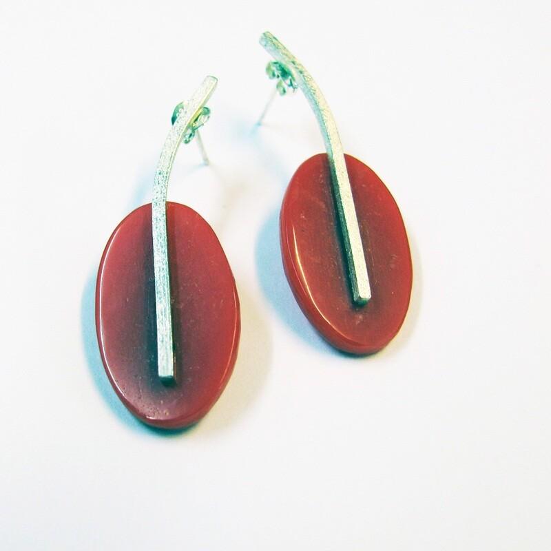 Cherry Oval Drop Earrings