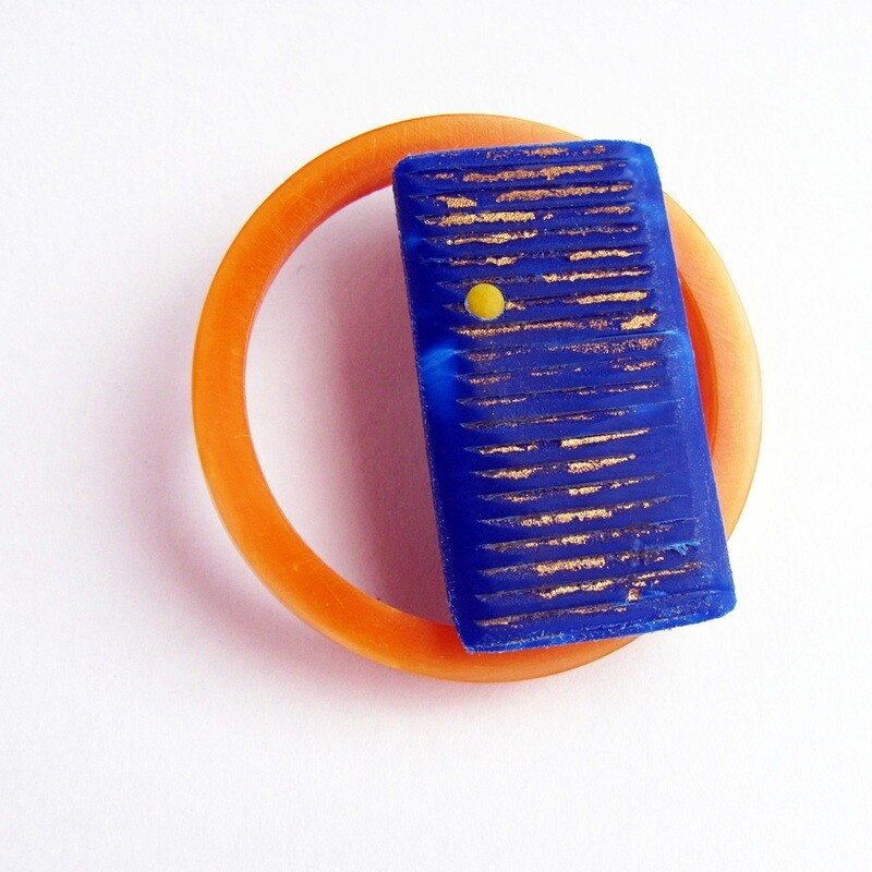 Orange and blue rectangle round brooch
