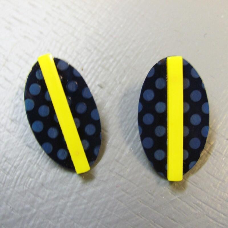Blue Oval, Yellow Stripe Earrings