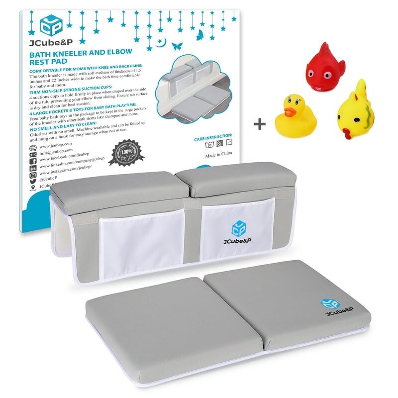 Bath Kneeler and Elbow Rest with 3 Bonus Baby Bath Toys for Tub Bathing and Bathroom Play Time