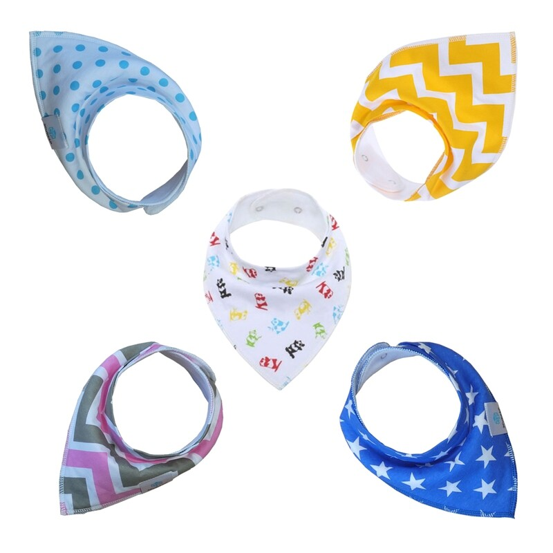 5-Pack Baby Bandana Bibs for Drooling and Teething - 100% Organic Cotton and Fleece Layers - Soft, Absorbent and Hypoallergenic.