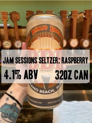 32oz Crowler - Jam Sessions Seltzer: Raspberry 4.1% ABV