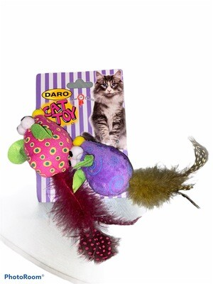 Cat Toy 2 Mice w/feather