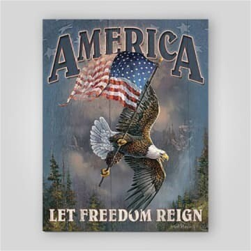 """""""Let Freedom Reign"""" Tin Sign"""