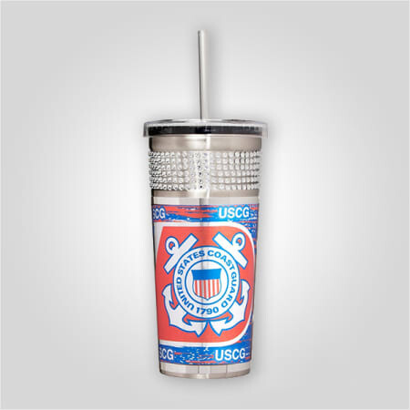Coast Guard 16 oz Bling Tumbler