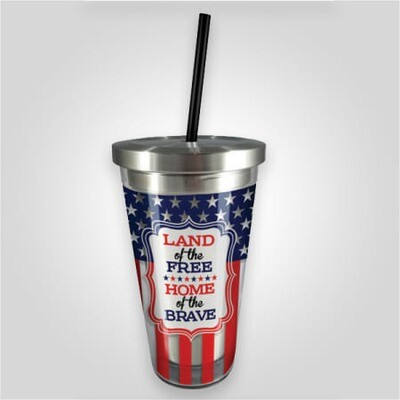 Americana Stainless Cup w/Straw