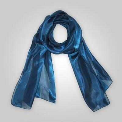 Ladies Navy Blue Satin Scarf