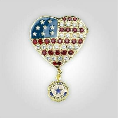 Auxiliary Jeweled Heart Flag Pin
