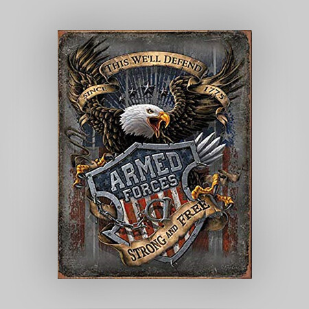 """""""Armed Forces"""" Tin Sign"""
