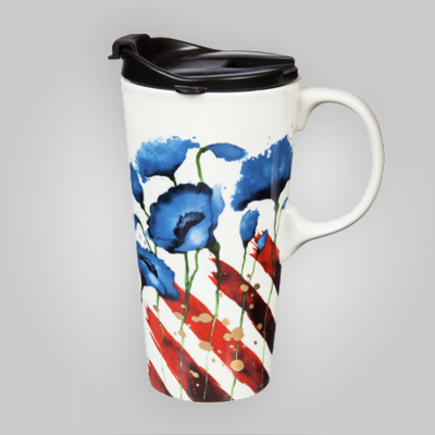 Blue Poppy Ceramic Travel Cup 17 oz