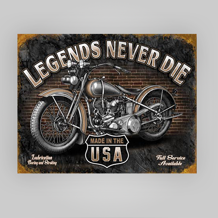 """Legends Never Die"" Tin Sign"