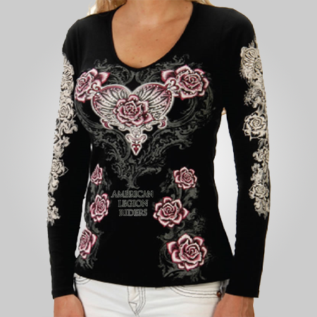 Lady Riders Hearts N Roses Long Sleeve Shirt