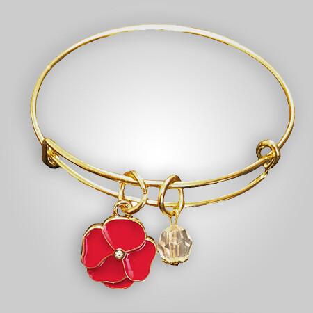 Poppy Charm Bangle Bracelet