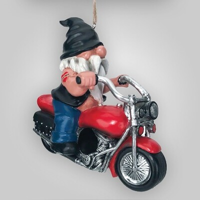 Gnome On Motorcycle Birdhouse