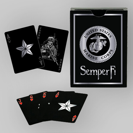 Marines Black & Silver Playing Cards
