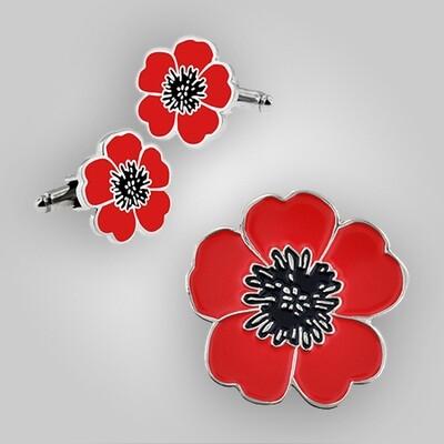 Poppy Flower Cufflinks and Pin Set
