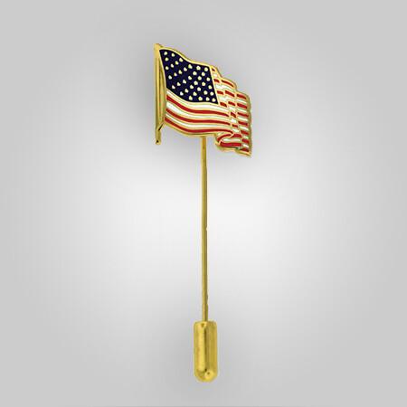 Waving American Flag Stick Pin