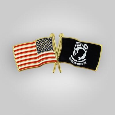 USA and POW Flag Pin