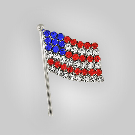 Rhinestone American Flag Pin
