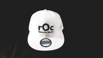 White Flat Bill Snapback rOc Cap