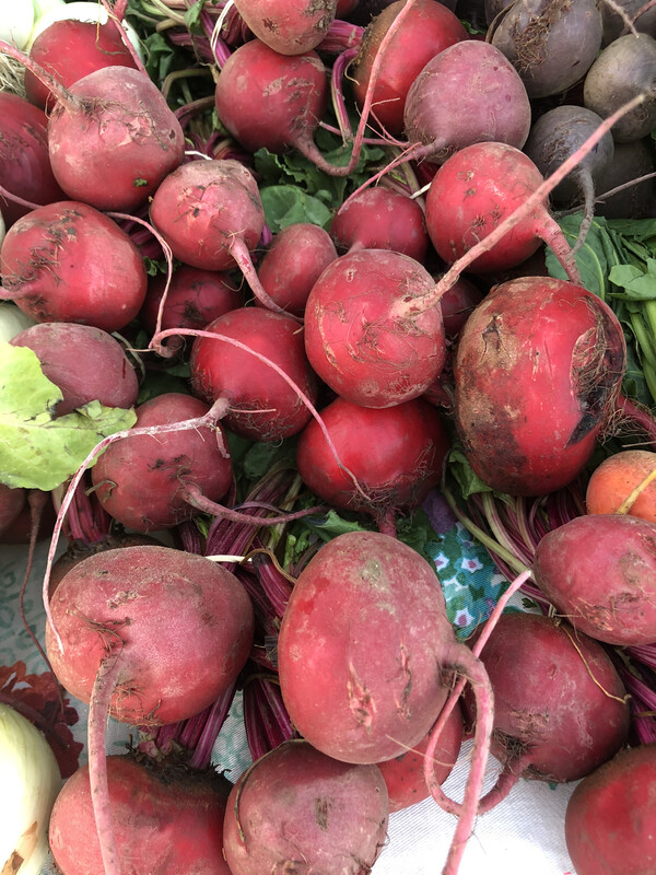 Beets, bundled with green tops