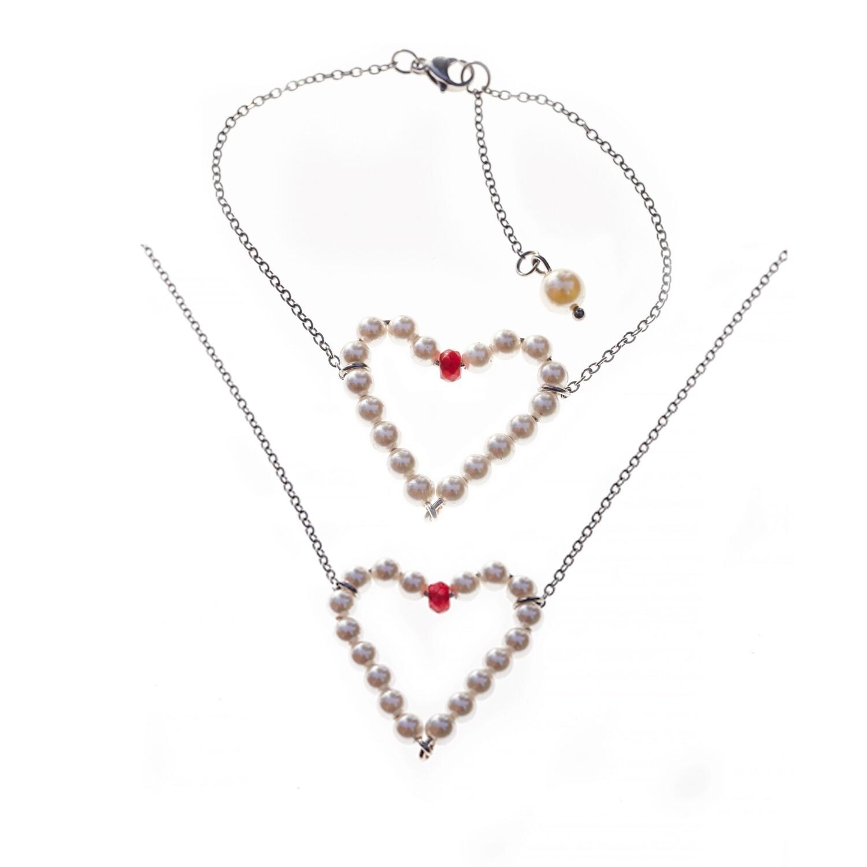 MANIA Jewels Cordiale Necklace and Bracelet Swarovski Pearl White