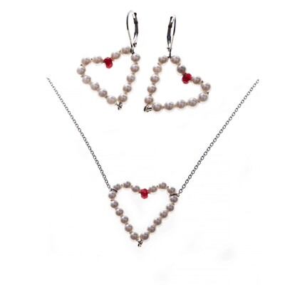 MANIA Jewels Cordiale Necklace and Earrings Swarovski Pearl White