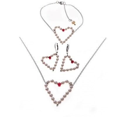 MANIA Jewels Cordiale Necklace,  Earrings and Bracelet Swarovski Pearl White