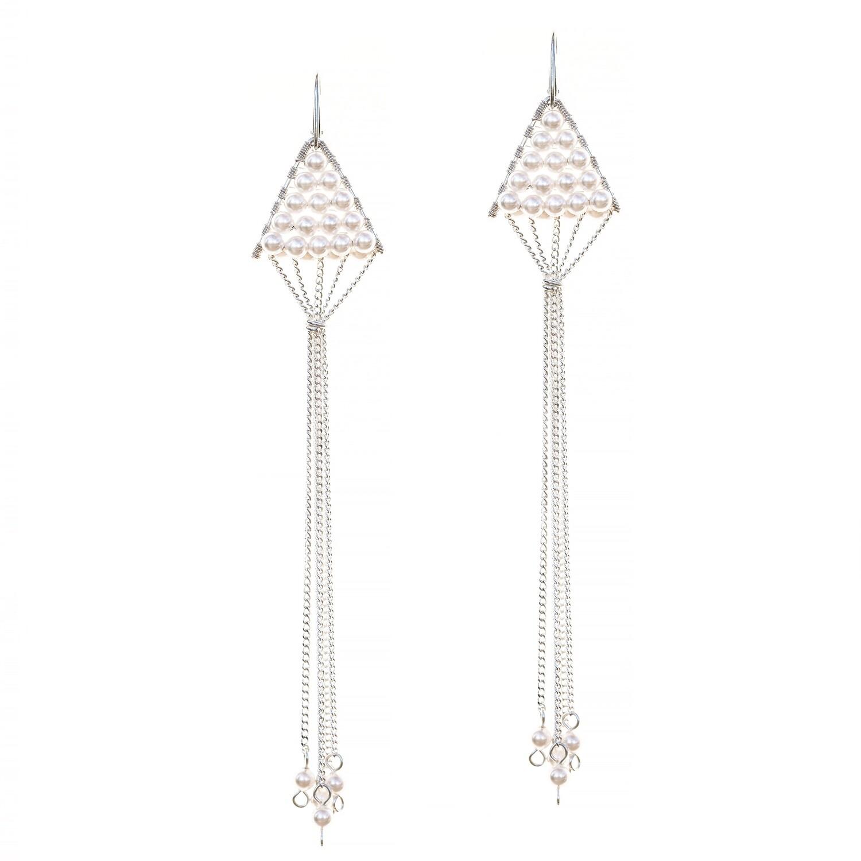 Triangulum Earrings White Pearl