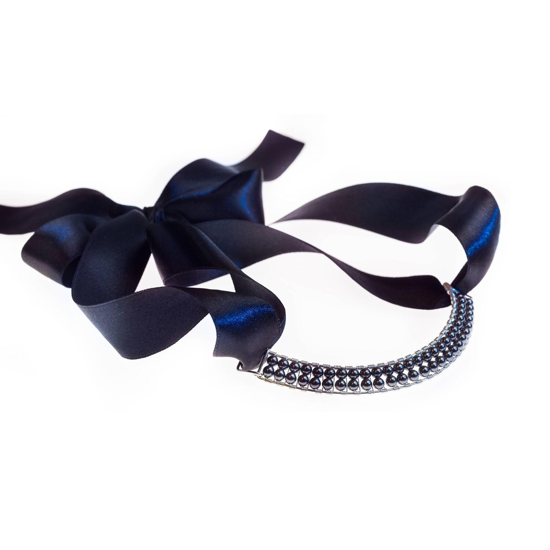 Black Pearl Bowie Collar With Swarovski Crystals
