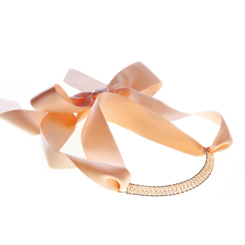 Light Peach Bowie Collar With Swarovski Crystals