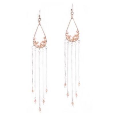 Light Peach Crystal Feather Earrings