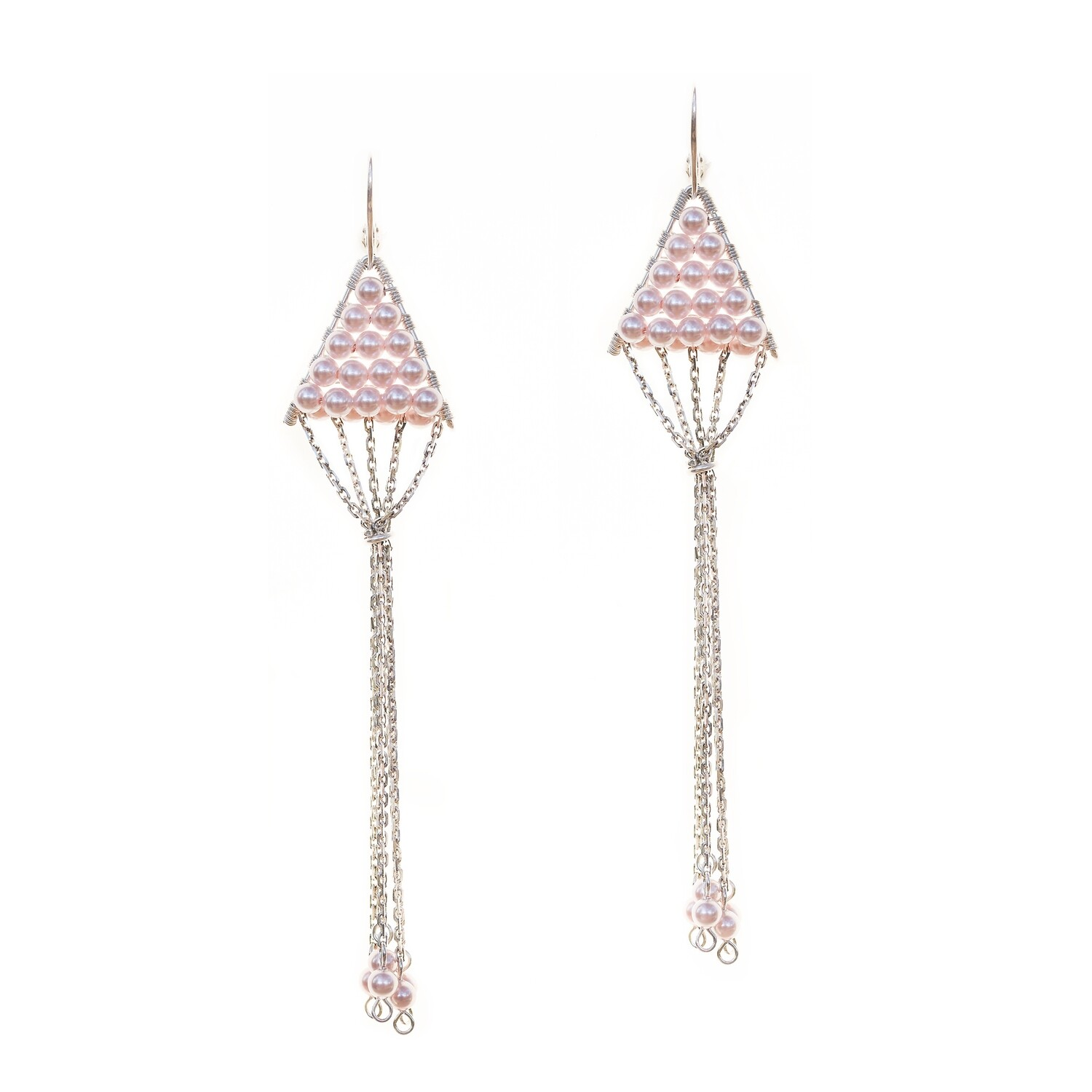 Triangulum Rose Pearl Earrings