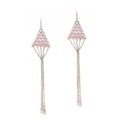 Triangulum Rose Pearl Earrings