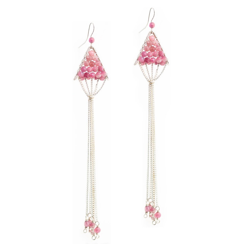 Pink Tourmaline Triangulum Earrings
