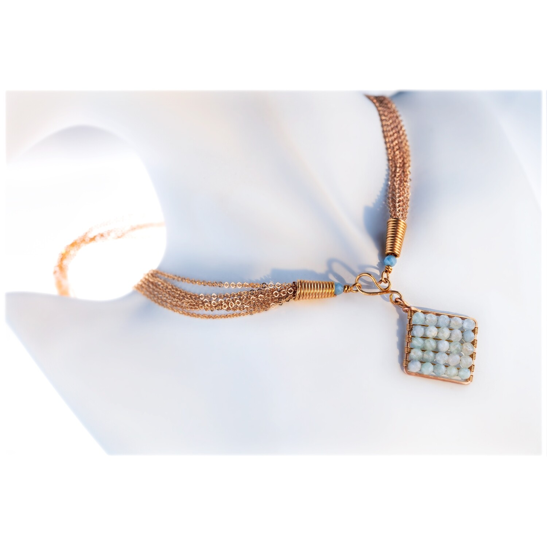 Jazzie Natural Blue Aquamarine Necklace