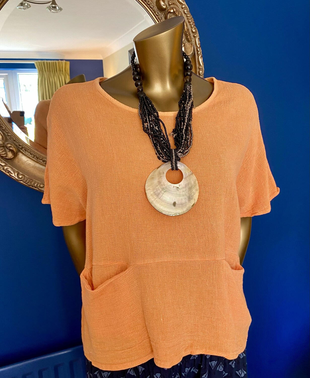 LINEN CROP POCKET TOP TANGERINE