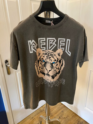 REBEL TIGER T/SHIRT CHARCOAL