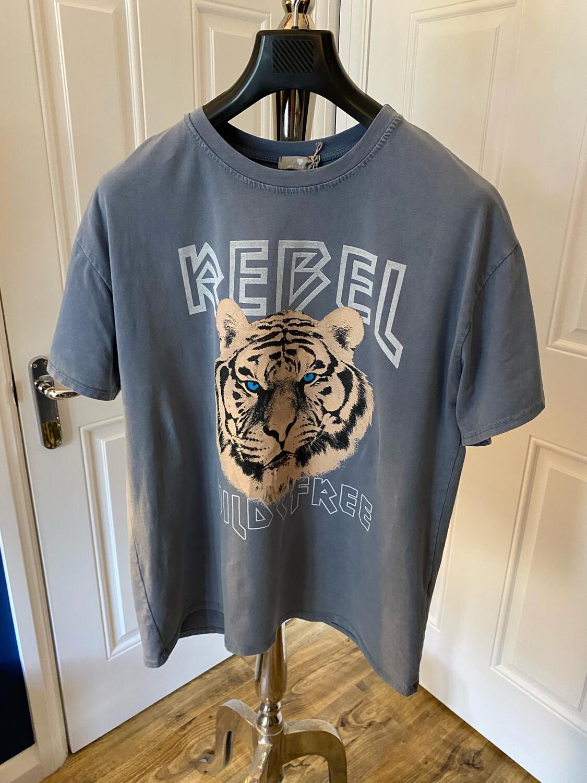 REBEL TIGER T/SHIRT BLUE/GREY