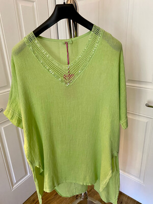 LINEN COTTON MIX V NECK SPARKLE TOP LIME