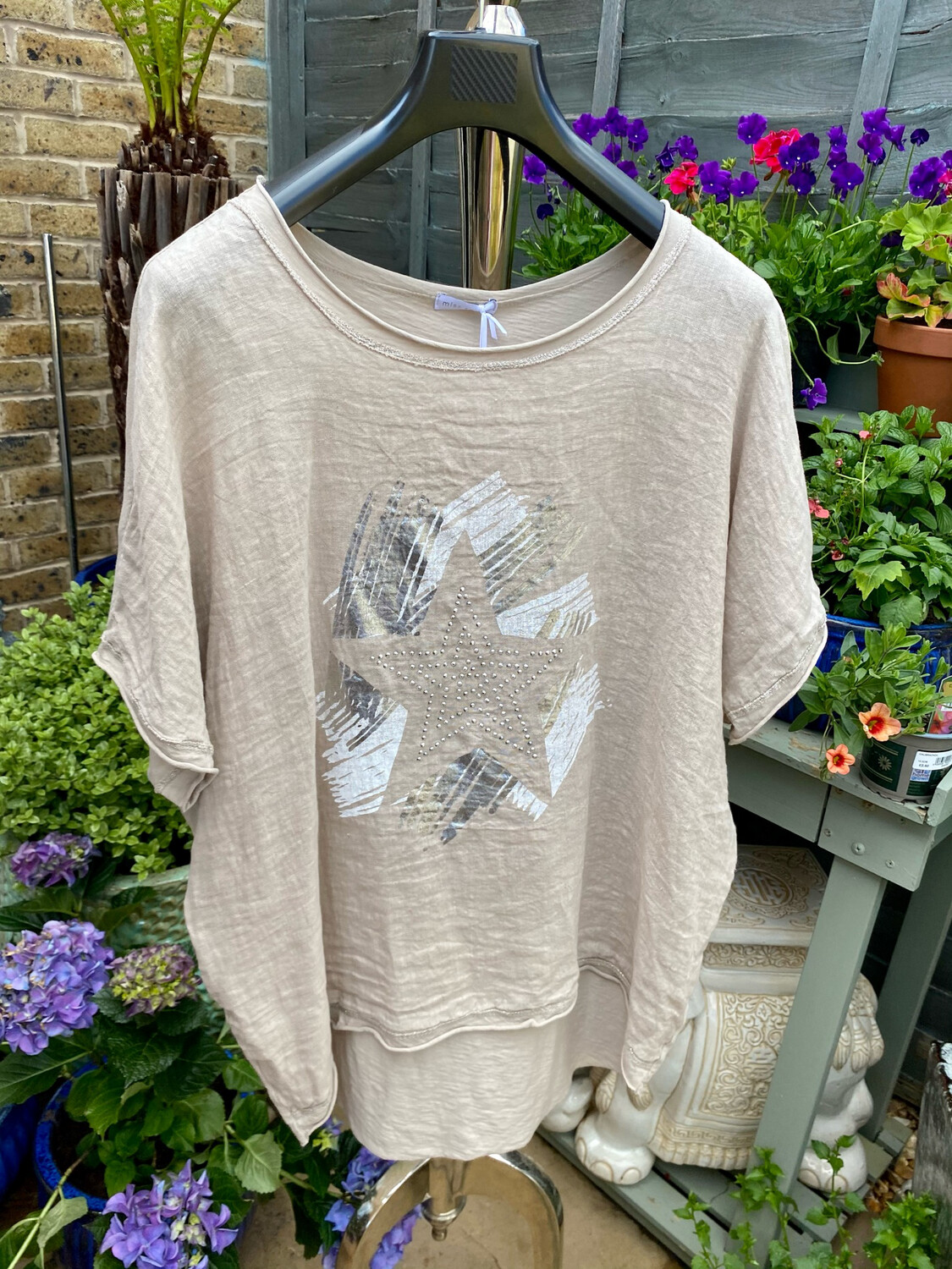 CRUSH LINEN AND STRETCH COTTON TOP BEIGE