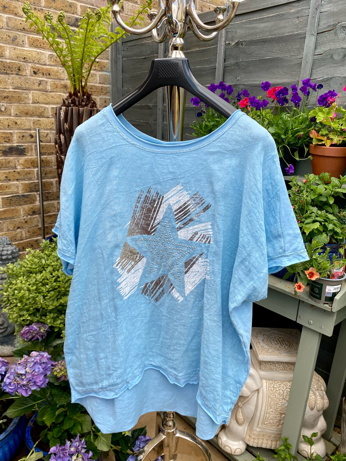 CRUSH LINEN AND STRETCH COTTON TOP BLUE