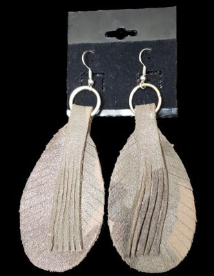 Camo Leather Feather Earrings