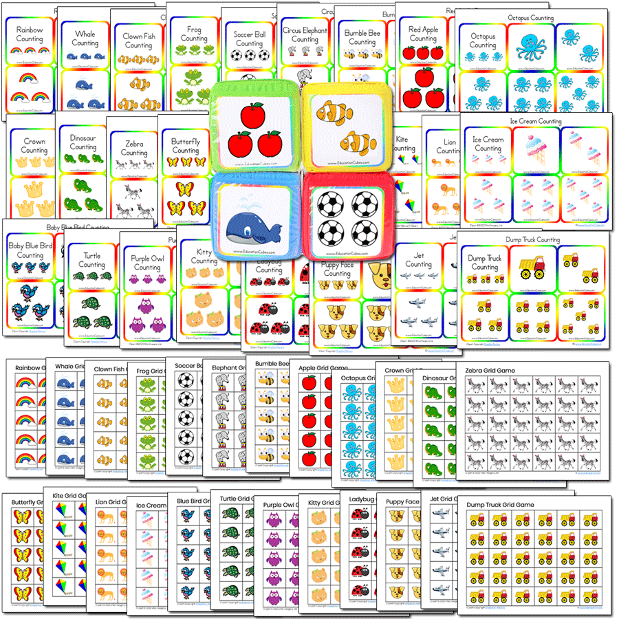 Special 24 Grid Game Collection PLUS 24 Education Cubes Insert Card Sets (Blocks sold separately)