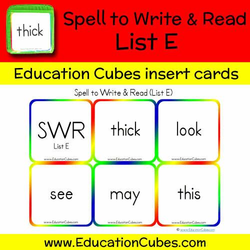 Spell to Write & Read List E