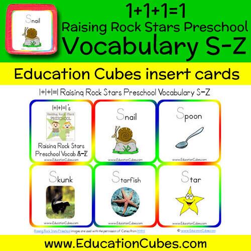 1+1+1=1 Raising Rock Stars Preschool (Vocabulary S-Z)