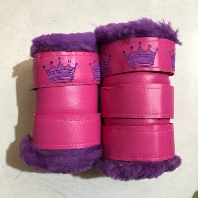 Sheepskin/Vinyl Embroidered Show Boots (Pony)