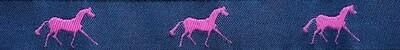 Horse Binding- Navy/Pink Horse
